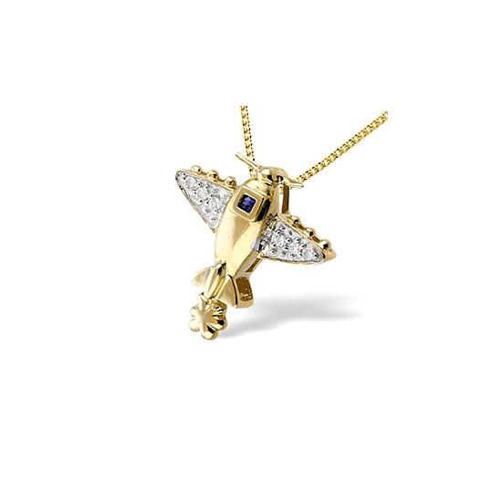 9K Gold Pave Set Diamond Sapphire Plane Pendant (D0.05 S0.03)