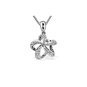 Photo of 9K White Gold Star Twist Diamond Pendant (0.10CT) Jewellery Woman