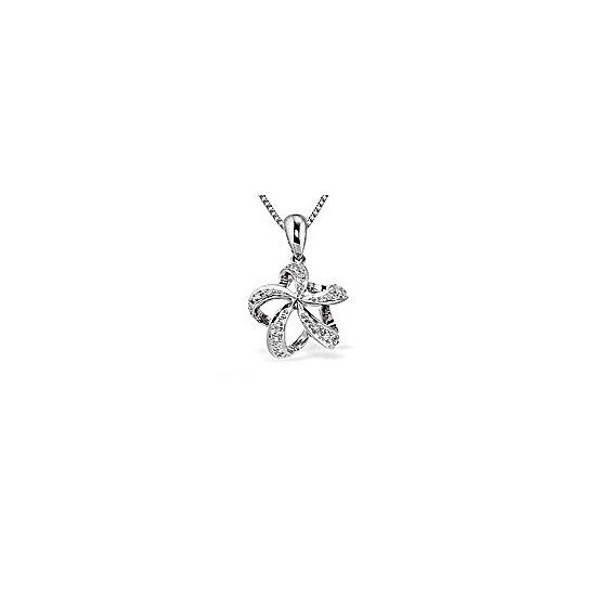 9K White Gold Star Twist Diamond Pendant (0.10ct)
