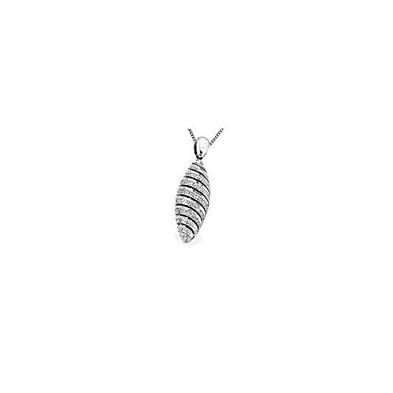 9K White Gold Tapered Egg Diamond Pendant (D0.31ct)