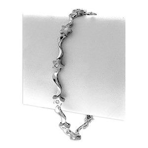 Photo of 9K White Gold Diamond Set Star Bracelet (0.20CT) Jewellery Woman