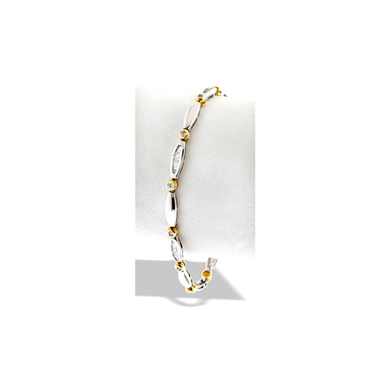 9K Two Tone Diamond Bracelet with Rubover Setting and Channel set Baguettes(1.00ct)