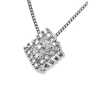 Photo of 18K White Gold Diamond Cluster Pendant (0.50CT) Jewellery Woman