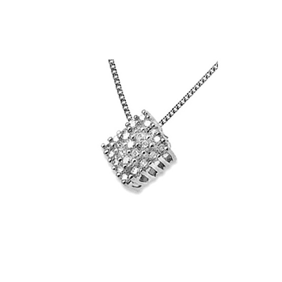 18K White Gold Diamond Cluster Pendant (0.50ct)