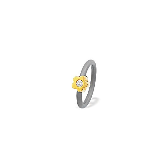 18K Gold Flower Design Titanium Ring