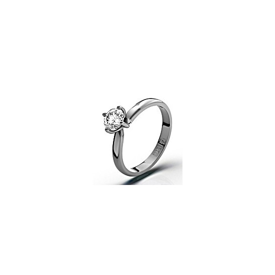 Certified 0.50CT Lily 18K White Gold Engagement Ring H/SI2