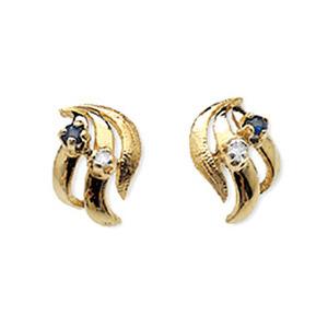 Photo of 9K Gold Diamond & Kanchan Sapphire Earrings Jewellery Woman