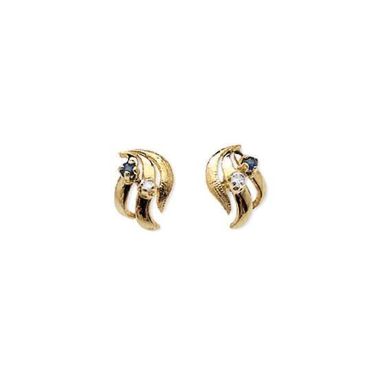 9K Gold Diamond & Kanchan Sapphire Earrings