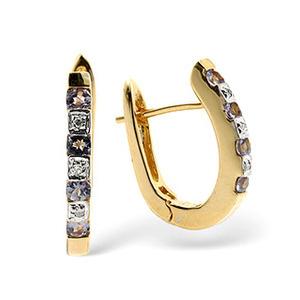 Photo of 9K Gold Diamond and Tanzanite Earrings Jewellery Woman