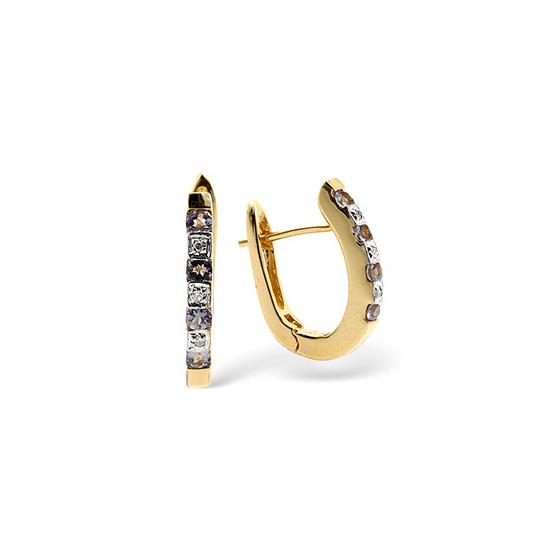 9K Gold Diamond and Tanzanite Earrings