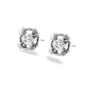 Photo of 9K White Gold Diamond Stud Earrings With Gold Detail Jewellery Woman