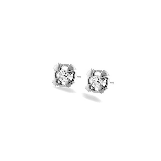 9K White Gold Diamond Stud Earrings with Gold Detail