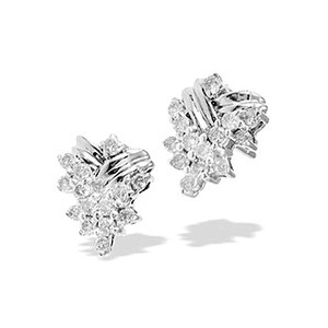 Photo of 9K White Gold Diamond Cluster Earrings Jewellery Woman