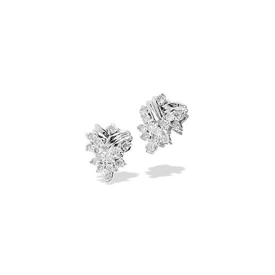 9K White Gold Diamond Cluster Earrings