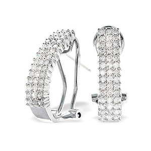 Photo of 9K White Gold Diamond Detail Earrings (0.64CT) Jewellery Woman