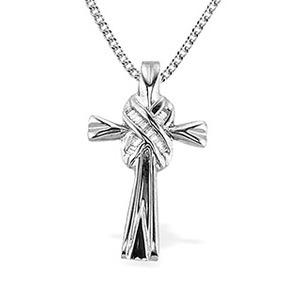Photo of 9K White Gold Baguette Diamond Detail Cross Pendant Jewellery Woman