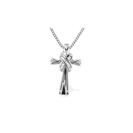 9K White Gold Baguette Diamond Detail Cross Pendant