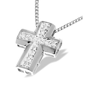 Photo of 9K White Gold Diamond Cross Pendant Jewellery Woman