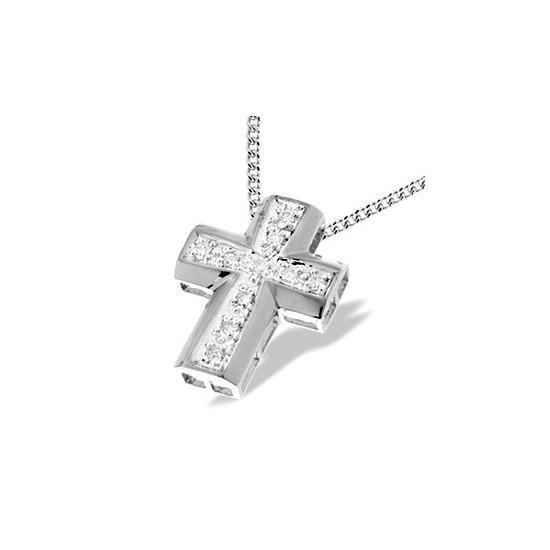 9K White Gold Diamond Cross Pendant