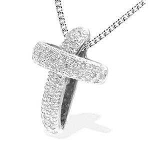 Photo of 9K White Gold Diamond Pave Cross Pendant Jewellery Woman