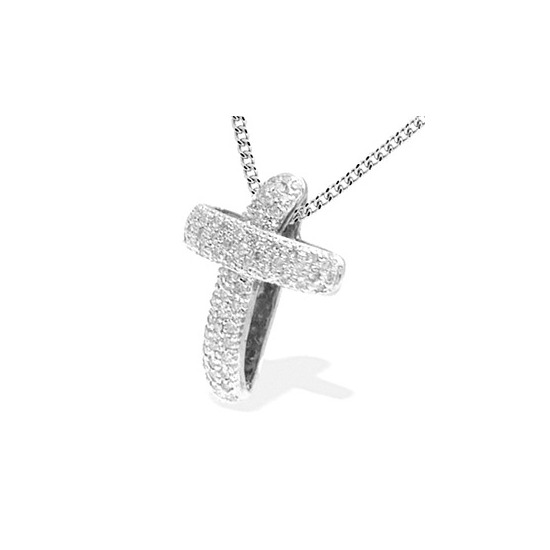 9K White Gold Diamond Pave Cross Pendant