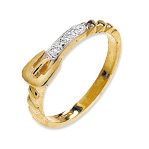 Photo of 9K Gold Diamond Belt and Buckle Ring Jewellery Woman
