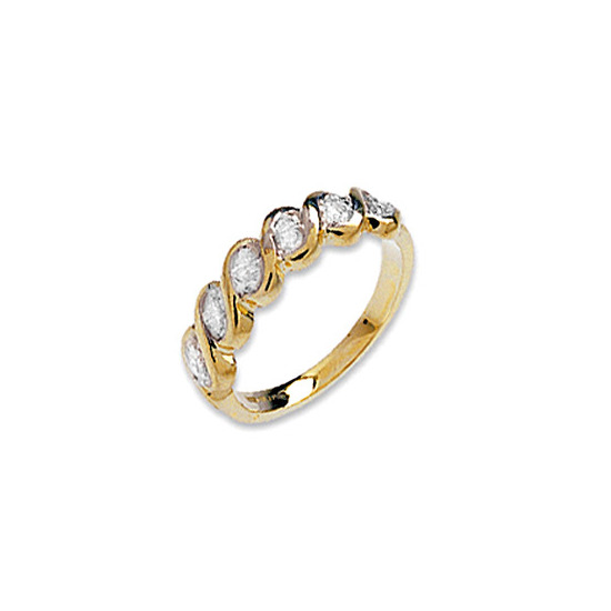 9K Gold Diamond Twist Design Ring