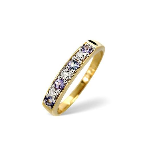 9K Gold Diamond and Tanzanite Half Eternity Ring