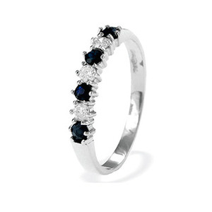 Photo of 9K White Gold Sapphire and Diamond Eternity Ring Jewellery Woman