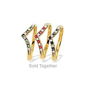 Photo of 9K Diamond Ruby-Sapphire-Emerald Set Of Three Rings Jewellery Woman