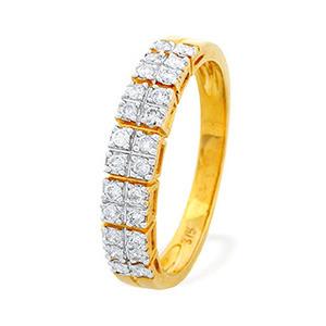 Photo of 9K Gold Diamond Detail Half Eternity Ring (0.25CT) Jewellery Woman
