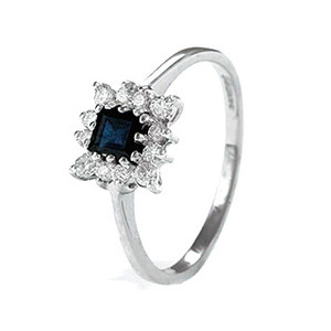 Photo of 9K White Gold Diamond and Sapphire Cluster Ring Jewellery Woman