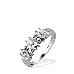 9K White Gold Diamond Three Cluster Ring Reviews