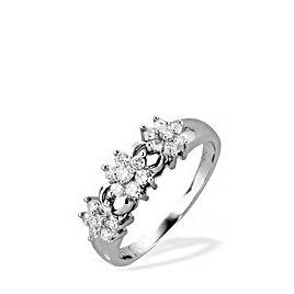 9K White Gold Diamond Three Cluster Ring Reviews