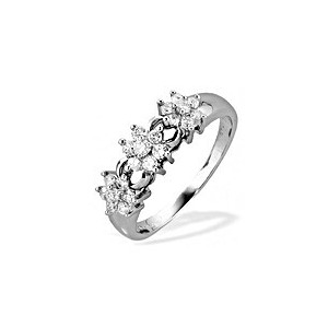 Photo of 9K White Gold Diamond Three Cluster Ring Jewellery Woman