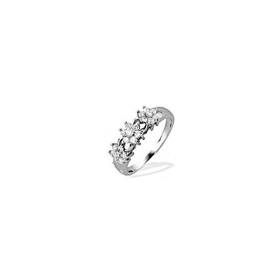 9K White Gold Diamond Three Cluster Ring