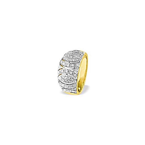 9K Gold Diamond Detail Ring (0.41ct)