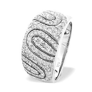 Photo of 9K White Gold Pave Set Diamond Detail Ring (0.64CT) Jewellery Woman