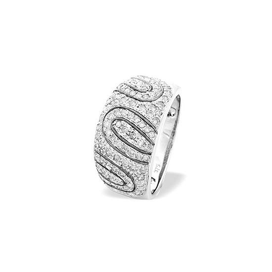 9K White Gold Pave Set Diamond Detail Ring (0.64ct)