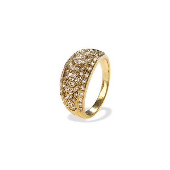 9K Gold Diamond Detail Ring (D0.40ct)