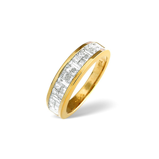18K Gold Princess and Baguette Diamond Eternity Ring