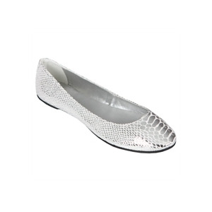 Photo of Odeon Crocodile Detail Ballerina Pumps - Silver Shoes Girl