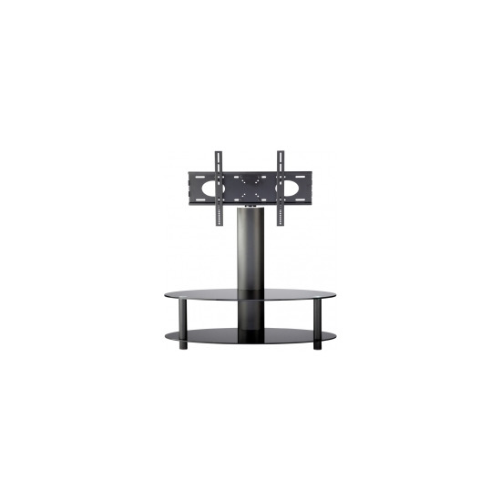 Alphason Accord ARB1100/2-BLK Cantilever LCD TV Stand in Black Glass with Black Legs