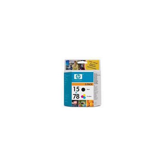 Original HP No.15 and No.78 black and tri-colour (cyan magenta yellow) printer ink cartridge twinpack SA310AE