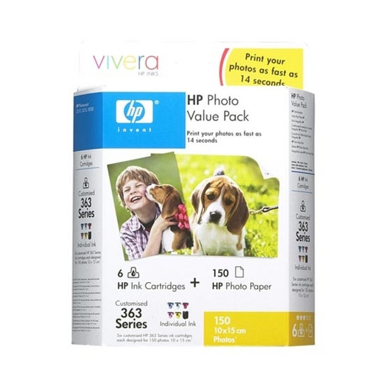 Original HP No.363 tri-colour (cyan magenta yellow) printer ink cartridge CB333EE