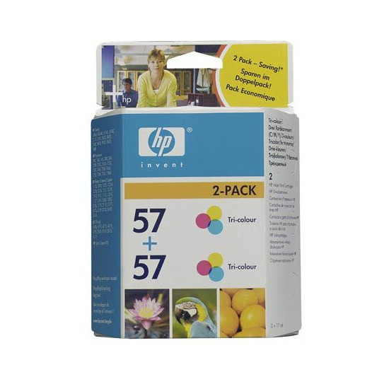 Original HP No.57 tri-colour (cyan magenta yellow) printer ink cartridge twinpack C9503AE