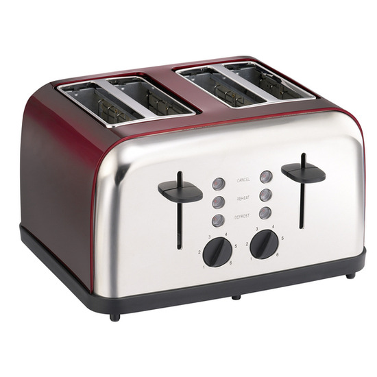 Logik LC04TR12 4-Slice Toaster - Stainless Steel & Red