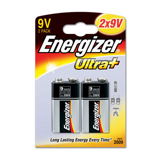 Energizer Ultra Plus Batteries - 2 x 9V