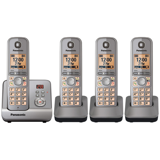Panasonic KX-TG6724EM Digital Cordless Phone with Answering Machine - Quad handsets