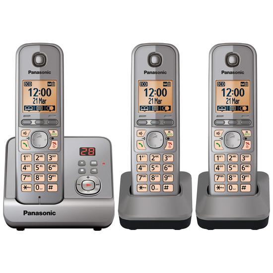 Panasonic KX-TG6723EM Digital Cordless Phone with Answering Machine - Triple handsets